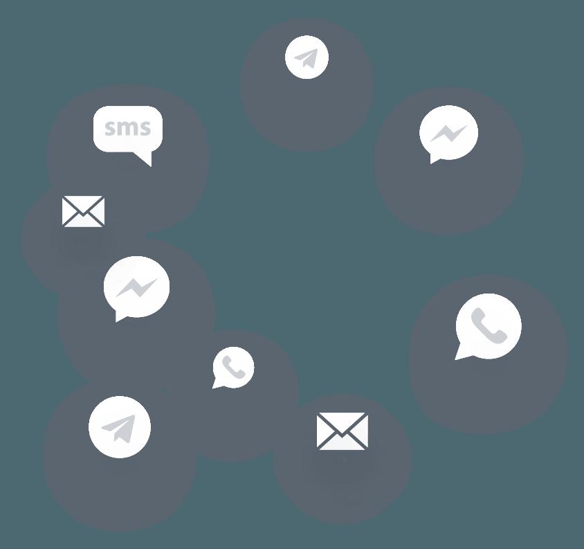 Icones representando aplicativos de comunicação